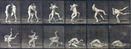 Eadweard Muybridge_Lutte de deux hommes nus