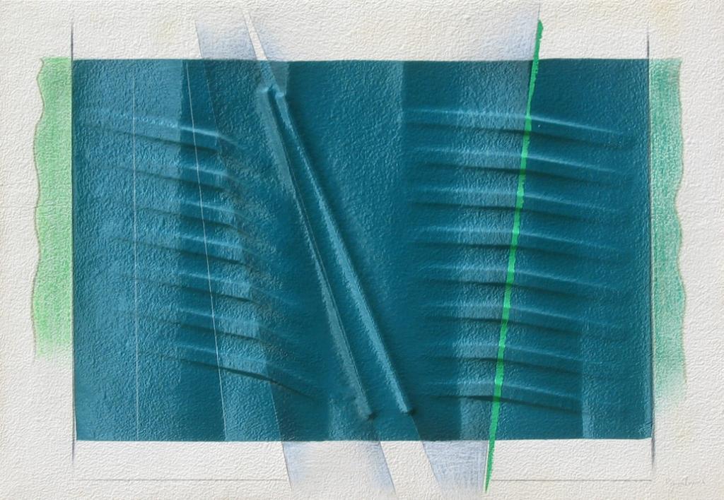 Seta verde, 1987, 65x94 cm, seta su carta estroflessa