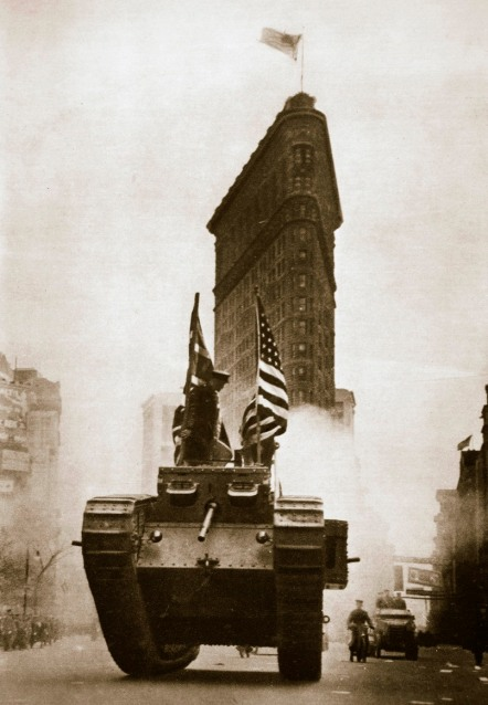 british tank britannia on fifth avenue, new york city, usa, c1917-c1918.