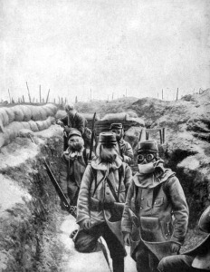 french soldiers in improvised gas masks, 1915. artist unknown