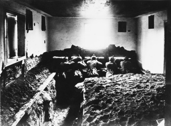 German soldiers in an indoor trench during World War I on the Western Front in France Date: 1914