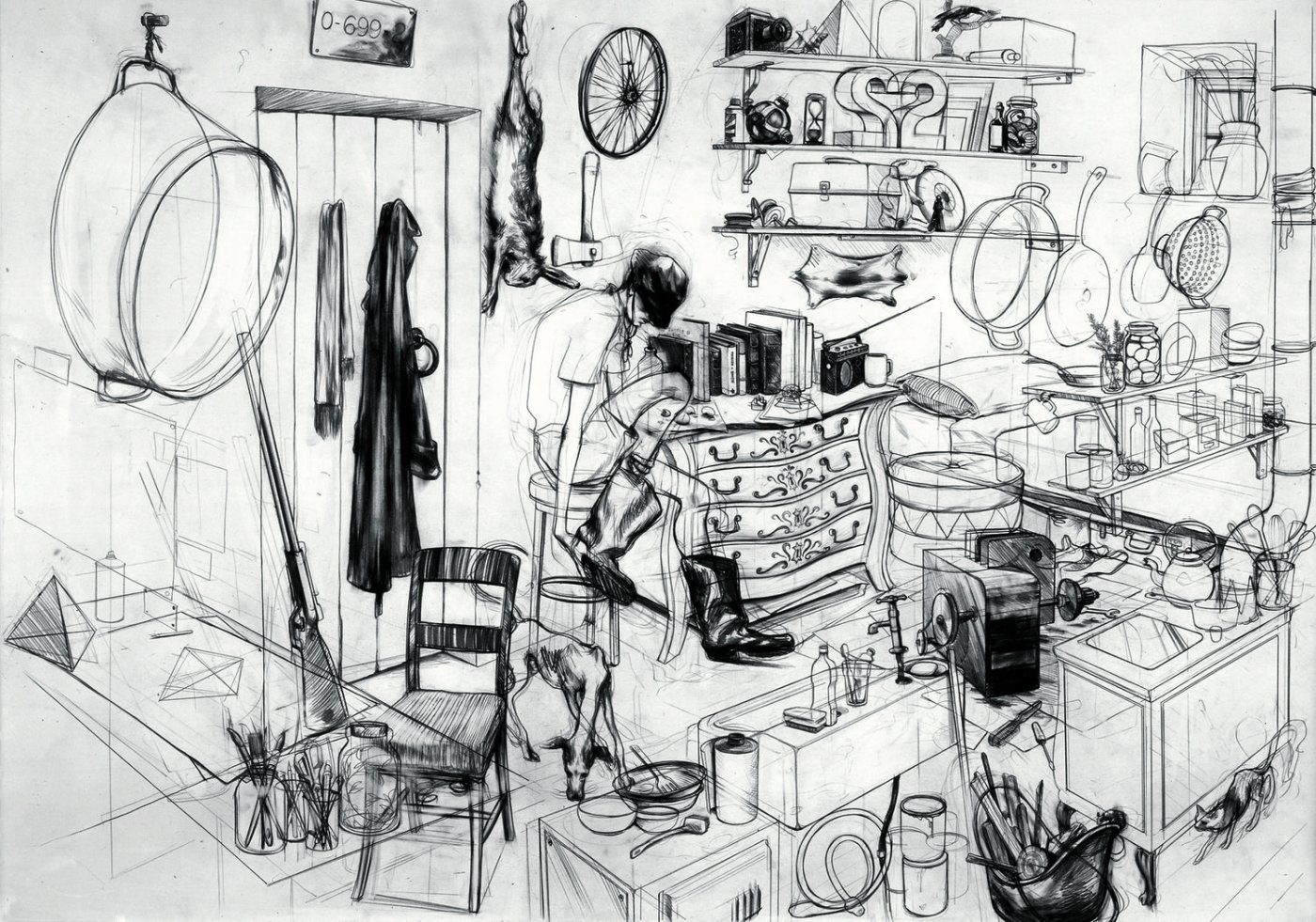 Charles Avery The Hunter's Cabin 2004 Pencil on paper 91 x 66 cm © Charles Avery. Courtesy of the artist and Pilar Corrias, London and Grimm Fine Art, Amsterdam. UBS Art Collection