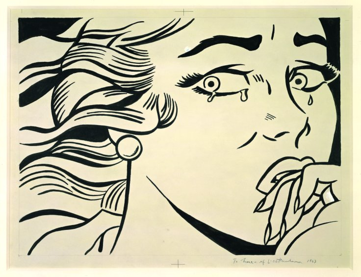 Roy Lichtenstein Crying Girl 1963 Ink on paper 49.5 x 64.5 cm © Estate of Roy Lichtenstein. UBS Art Collection