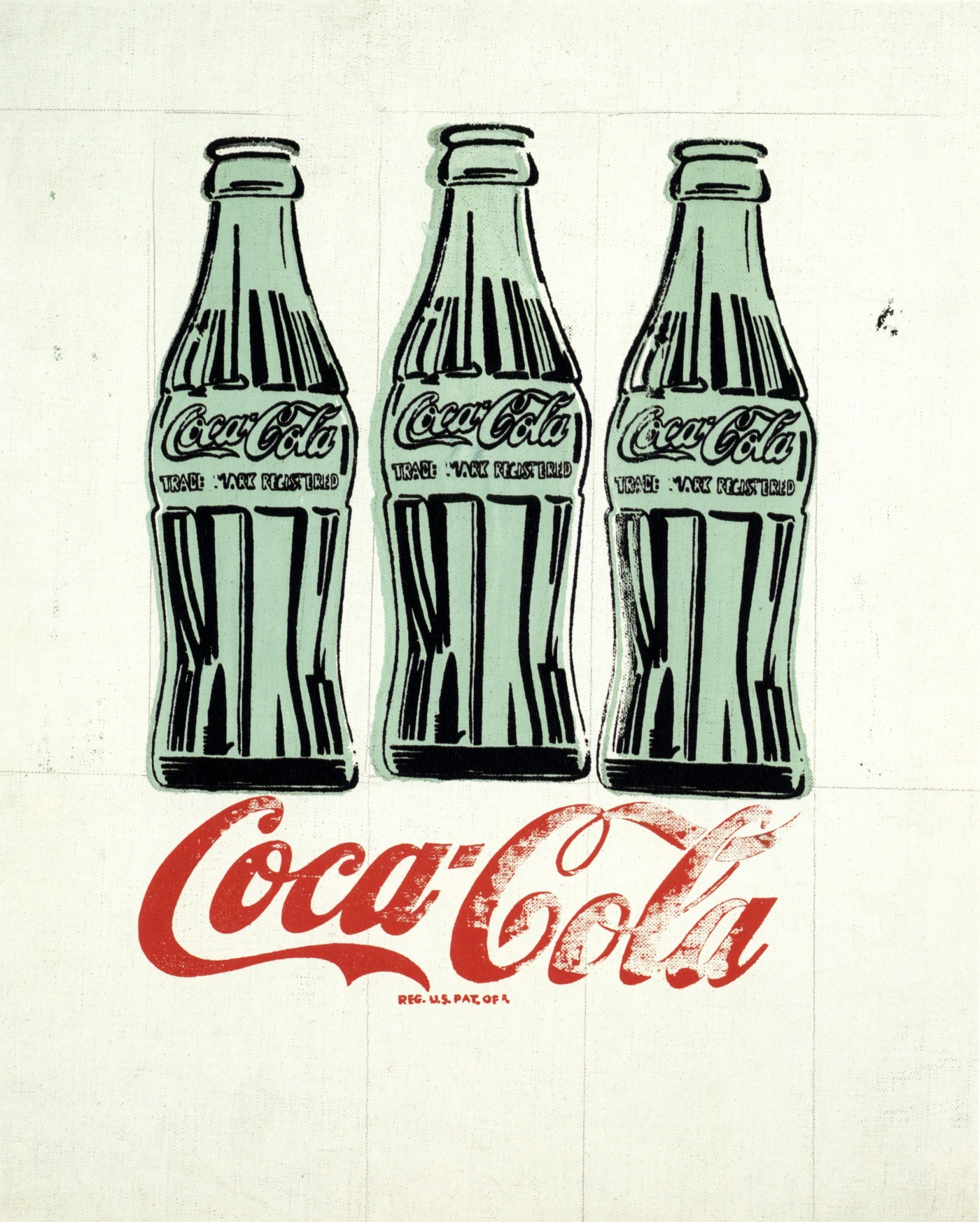 Andy Warhol (American, 1928–1987), Three Coke Bottles, 1962, silkscreen, ink, and graphite on linen, The Andy Warhol Museum, Pittsburg; Founding Collection, Contribution The Andy Warhol Foundation for Visual Arts, Inc., 1998.1.20. © 2015 The Andy Warhol Foundation for the Visual Arts, Inc. / Artists