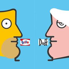 IABO, Brillo (Homer Simpson e Andy Warhol), 70x140 cm, acrilico su tela