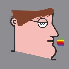 IABO, Who has not sinned cast the first Apple (Bill Gates), acrilico su tela, 70x70 cm