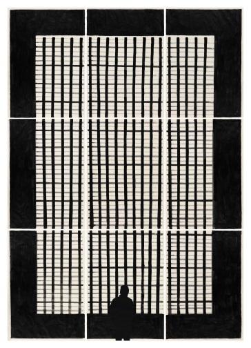 MARCO NERI_Visto Ingresso, 2010, tempera, acrilico e collage su carta
