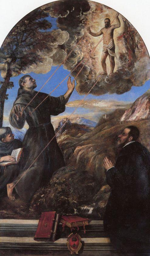 01_Tiziano Vecellio, San Francesco riceve le stimmate, Ascoli Piceno, Pinacoteca Civica