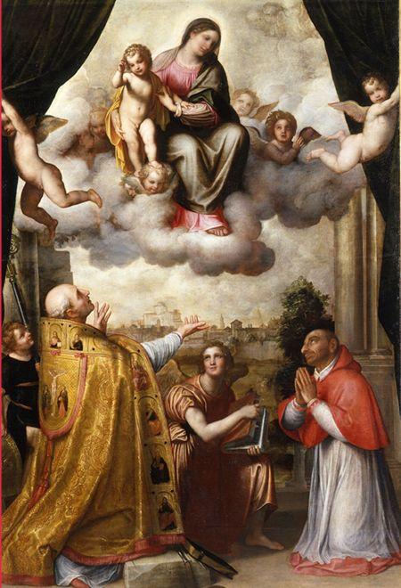 08_Enea Salmeggia, Madonna in gloria con il Bambino tra Sant'Ambrogio e Carlo Borromeo