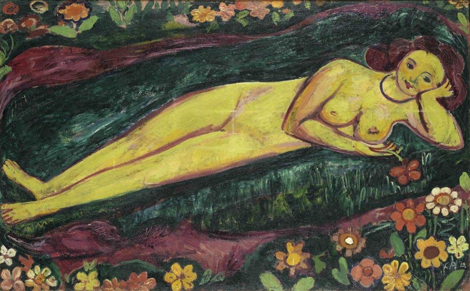 1912.16 Nudo femminile sdraiato con fiori (Liegender Frauenakt mit Blumen) 1912, olio su tela, 100 x 160.5 cm Kunstmuseum Bern, Legat Eduard Gerber, Bern © M. + D. Thalmann, Herzogenbuchsee Crediti fotografici: Kunstmuseum Bern