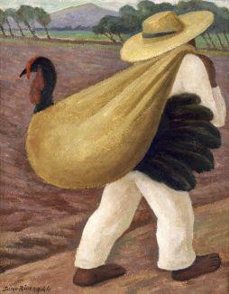DIEGO RIVERA CONTADINO CHE PORTA UN TACCHINO, 1944 olio su tavola, tempera su masonite 36 × 28 cm Collezione Museo de Arte del Estado de Veracruz