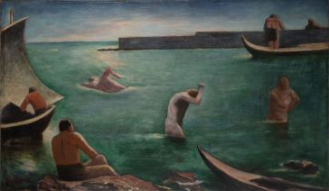 Carlo Carrà I Nuotatori 1932 Oil on canvas, cm 63,5 x 108,5 Augusto e Francesca Giovanardi Collection